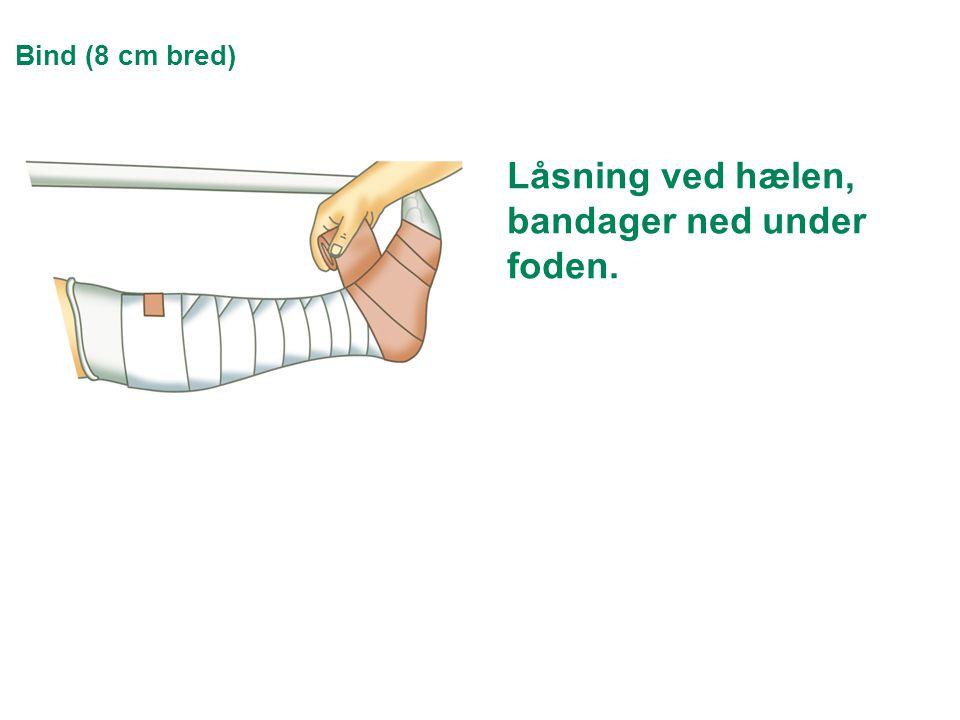 Bind (8 cm bred) Låsning ved hælen, bandager ned under foden.