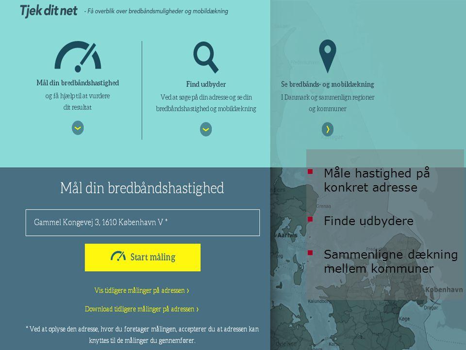 Tjekditnet.dk (under udvikling)  Måle hastighed på konkret adresse  Finde udbydere  Sammenligne dækning mellem kommuner
