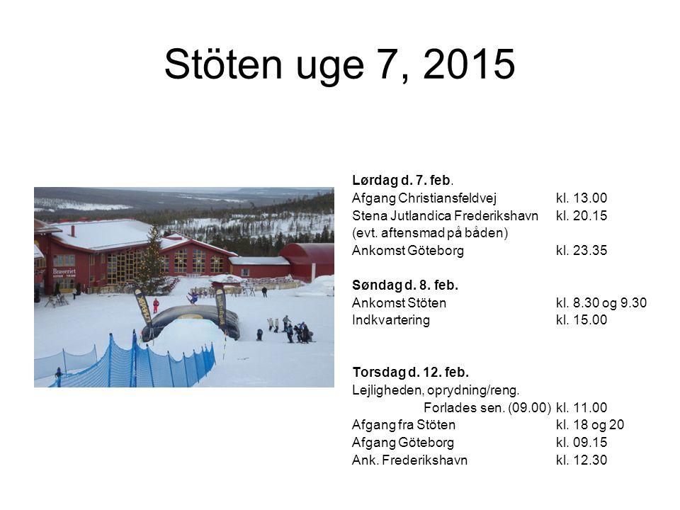 Stöten uge 7, 2015 Lørdag d. 7. feb. Afgang Christiansfeldvejkl.