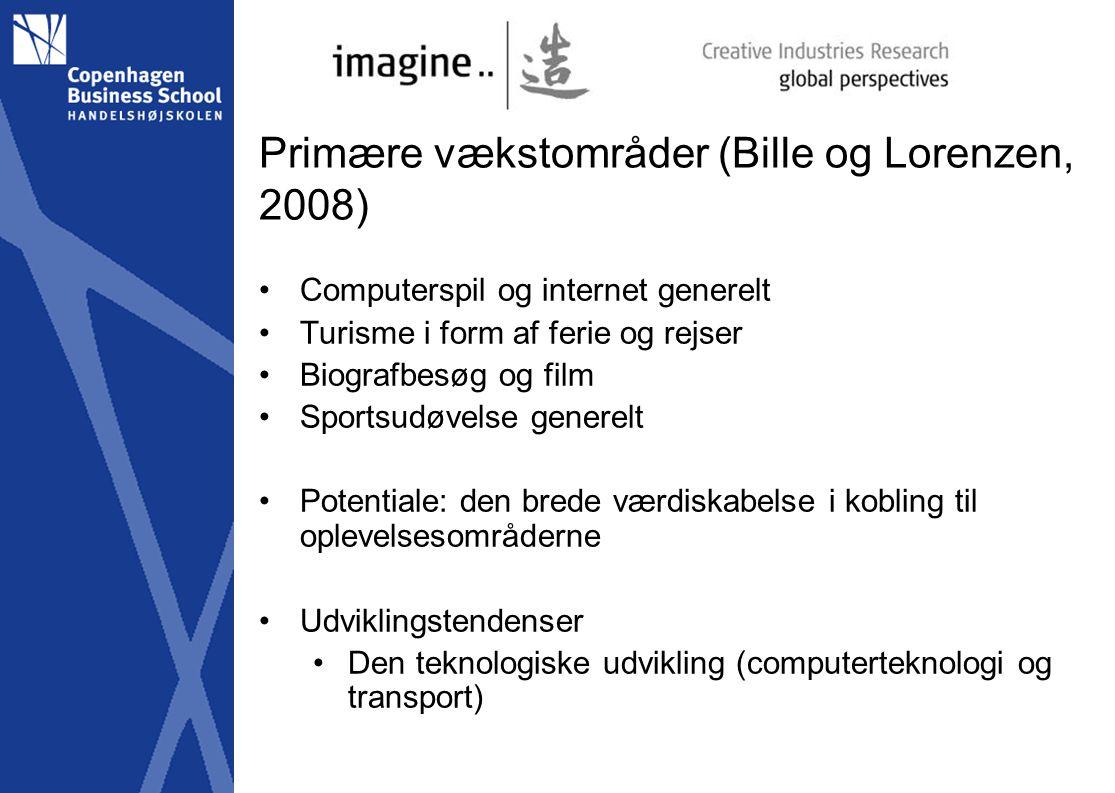 Primære vækstområder (Bille og Lorenzen, 2008) Computerspil og internet generelt Turisme i form af ferie og rejser Biografbesøg og film Sportsudøvelse generelt Potentiale: den brede værdiskabelse i kobling til oplevelsesområderne Udviklingstendenser Den teknologiske udvikling (computerteknologi og transport)