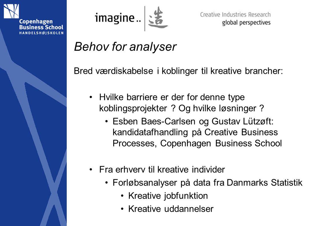 Behov for analyser Bred værdiskabelse i koblinger til kreative brancher: Hvilke barriere er der for denne type koblingsprojekter .