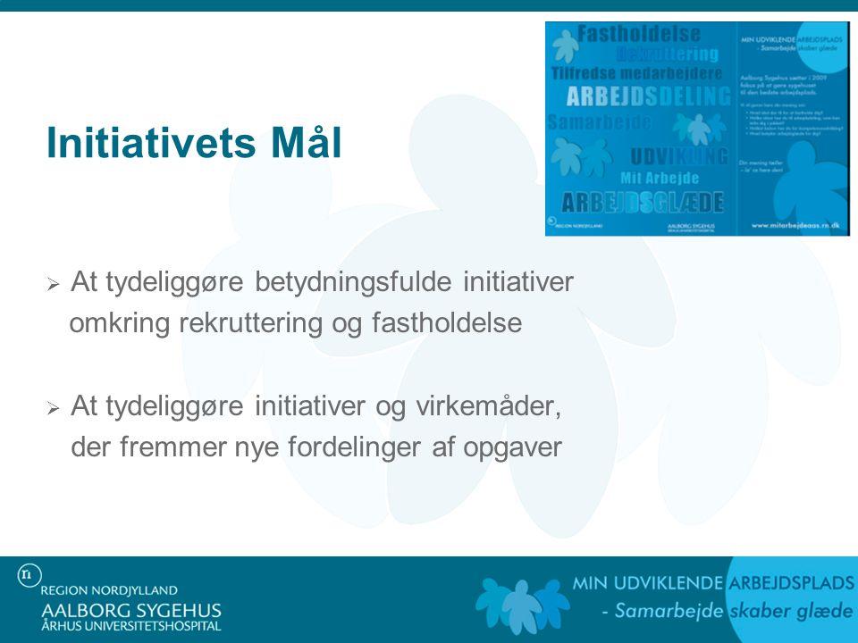 Initiativets Mål  At tydeliggøre betydningsfulde initiativer omkring rekruttering og fastholdelse  At tydeliggøre initiativer og virkemåder, der fremmer nye fordelinger af opgaver