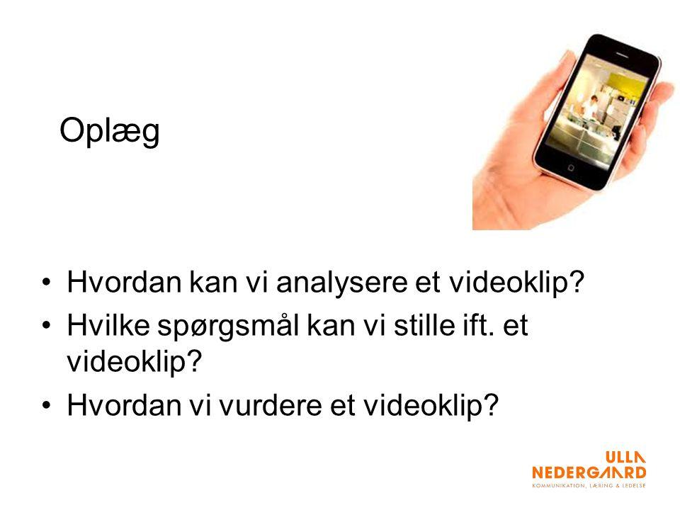 Oplæg Hvordan kan vi analysere et videoklip. Hvilke spørgsmål kan vi stille ift.