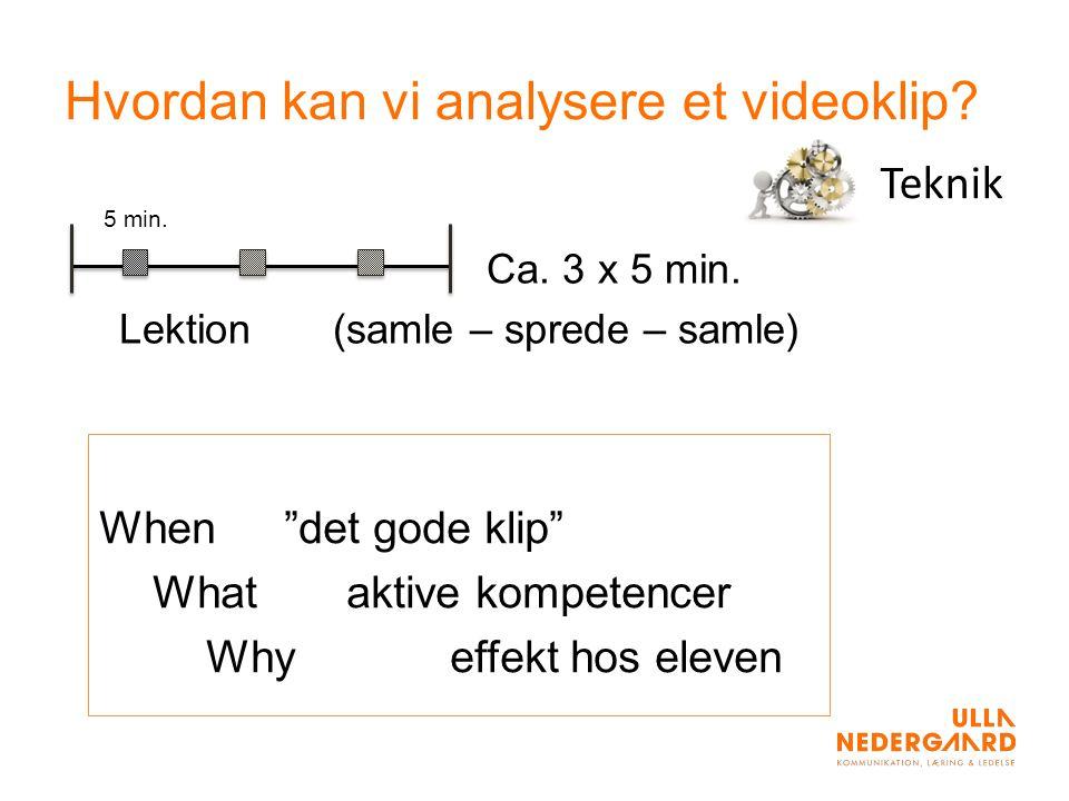 Hvordan kan vi analysere et videoklip. 5 min. Ca.