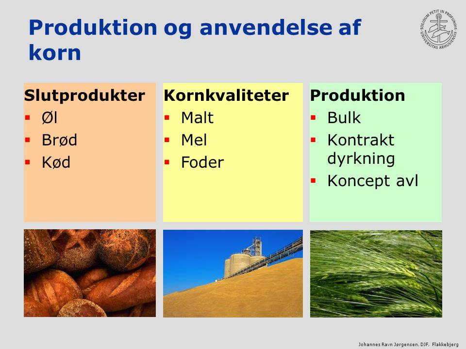 Produktion og anvendelse af korn Produktion  Bulk  Kontrakt dyrkning  Koncept avl Slutprodukter  Øl  Brød  Kød Kornkvaliteter  Malt  Mel  Foder