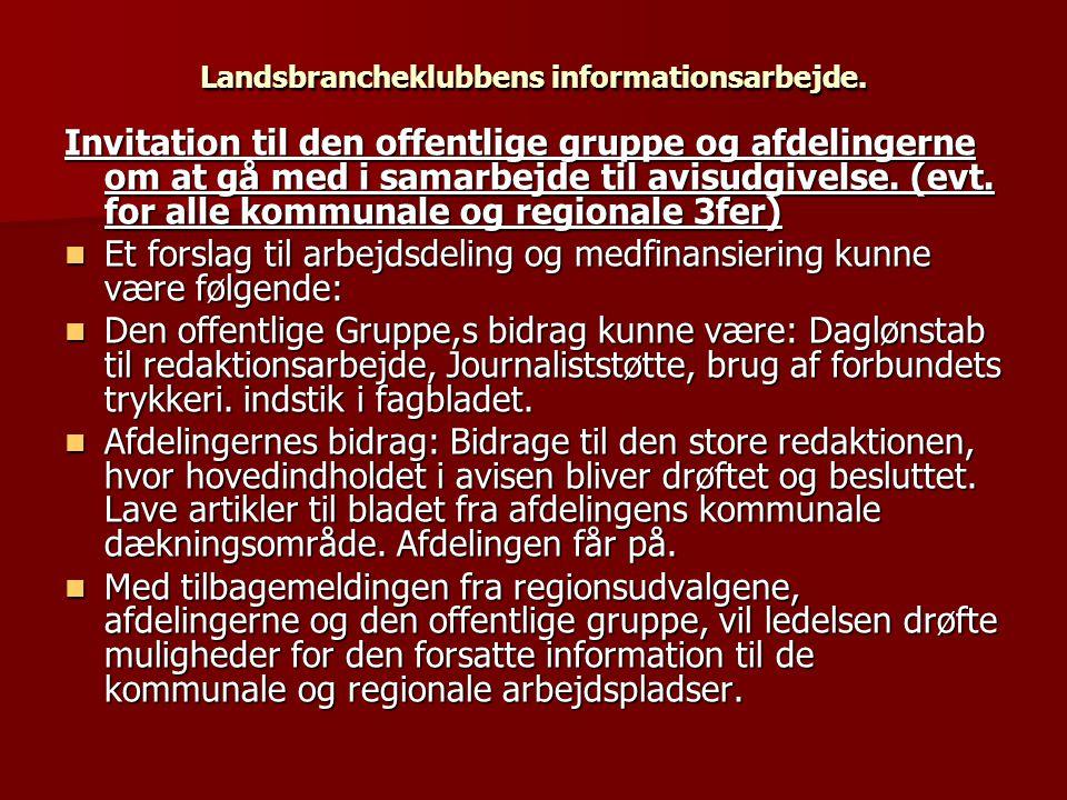 Landsbrancheklubbens informationsarbejde.