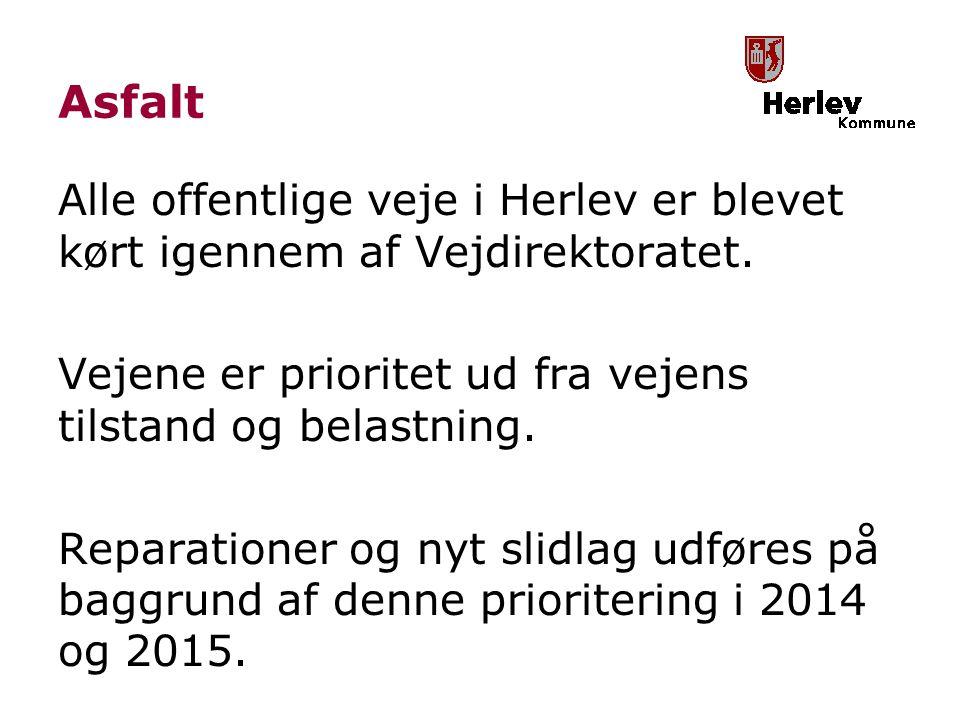 Asfalt Alle offentlige veje i Herlev er blevet kørt igennem af Vejdirektoratet.