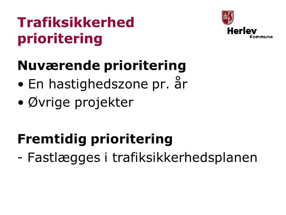Trafiksikkerhed prioritering Nuværende prioritering En hastighedszone pr.