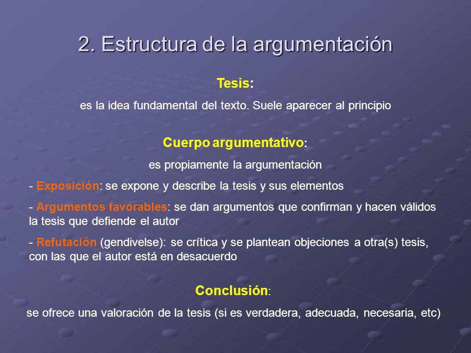 2. Estructura de la argumentación Tesis: es la idea fundamental del texto.