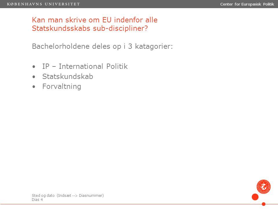 Sted og dato (Indsæt --> Diasnummer) Dias 4 Center for Europæisk Politik Kan man skrive om EU indenfor alle Statskundsskabs sub-discipliner.