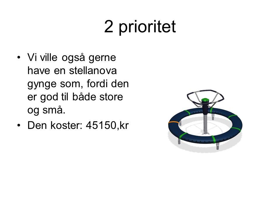 2 prioritet Vi ville også gerne have en stellanova gynge som, fordi den er god til både store og små.