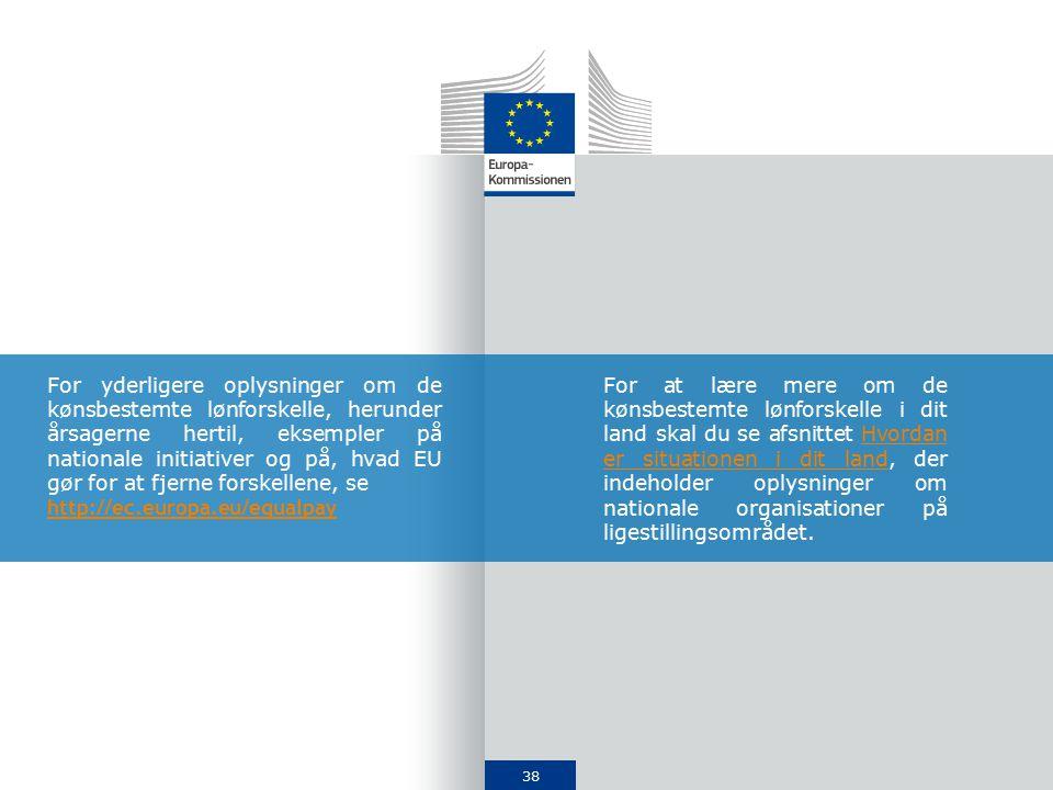 38 For yderligere oplysninger om de kønsbestemte lønforskelle, herunder årsagerne hertil, eksempler på nationale initiativer og på, hvad EU gør for at fjerne forskellene, se http://ec.europa.eu/equalpay For at lære mere om de kønsbestemte lønforskelle i dit land skal du se afsnittet Hvordan er situationen i dit land, der indeholder oplysninger om nationale organisationer på ligestillingsområdet.Hvordan er situationen i dit land