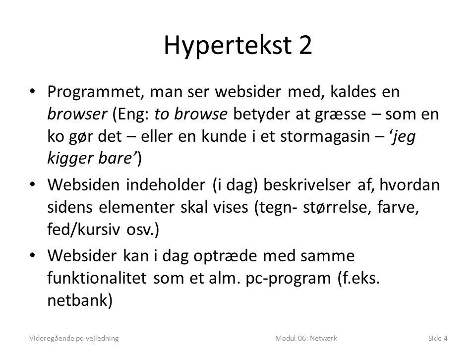 Hypertekst 2 Programmet, man ser websider med, kaldes en browser (Eng: to browse betyder at græsse – som en ko gør det – eller en kunde i et stormagasin – 'jeg kigger bare') Websiden indeholder (i dag) beskrivelser af, hvordan sidens elementer skal vises (tegn- størrelse, farve, fed/kursiv osv.) Websider kan i dag optræde med samme funktionalitet som et alm.