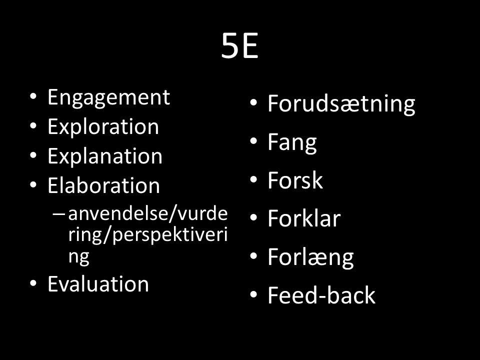 5E Engagement Exploration Explanation Elaboration – anvendelse/vurde ring/perspektiveri ng Evaluation Forudsætning Fang Forsk Forklar Forlæng Feed-back