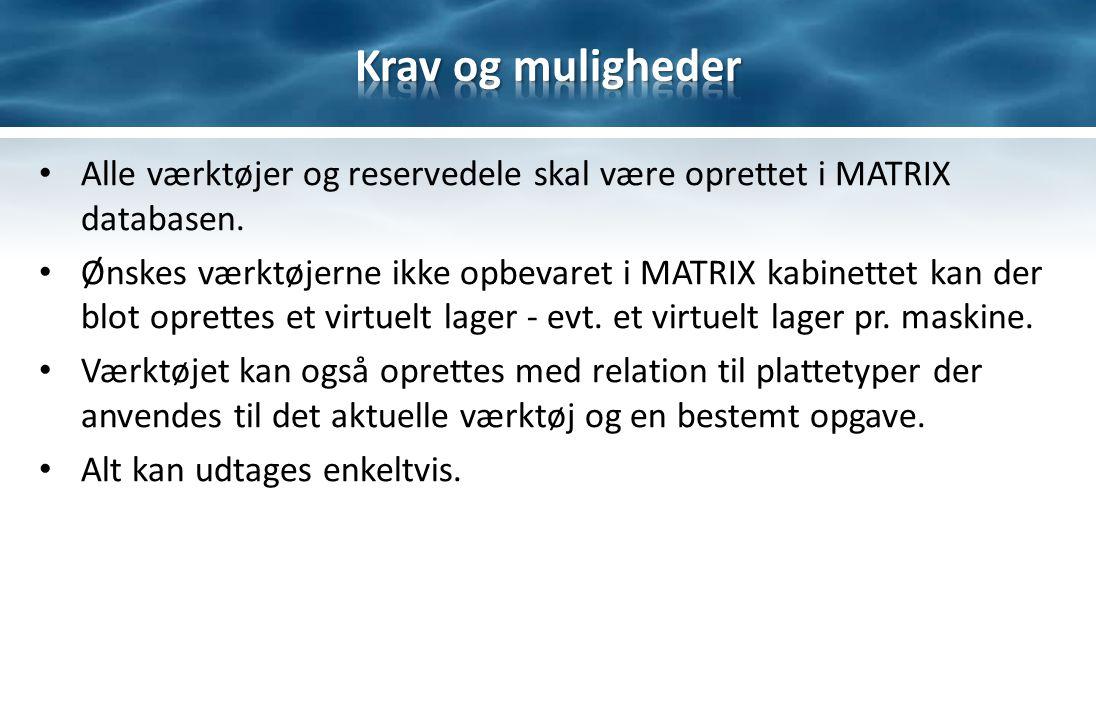Alle værktøjer og reservedele skal være oprettet i MATRIX databasen.