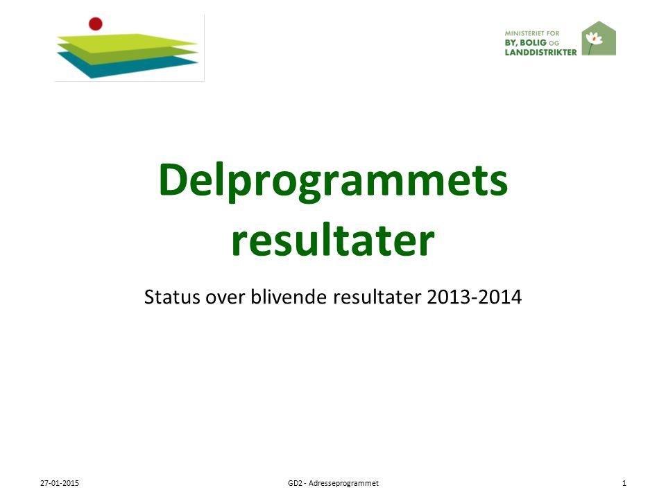 Delprogrammets resultater Status over blivende resultater 2013-2014 27-01-2015GD2 - Adresseprogrammet1