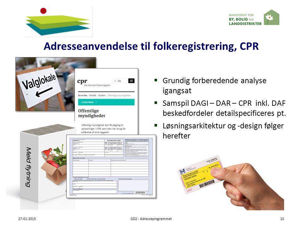 Adresseanvendelse til folkeregistrering, CPR 27-01-2015GD2 - Adresseprogrammet10  Grundig forberedende analyse igangsat  Samspil DAGI – DAR – CPR inkl.