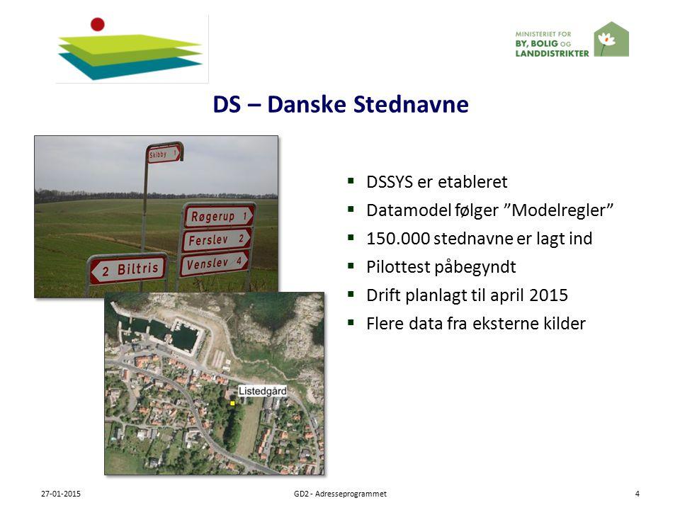 DS – Danske Stednavne 27-01-2015GD2 - Adresseprogrammet4  DSSYS er etableret  Datamodel følger Modelregler  150.000 stednavne er lagt ind  Pilottest påbegyndt  Drift planlagt til april 2015  Flere data fra eksterne kilder
