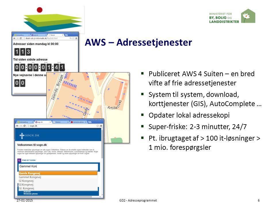 AWS – Adressetjenester 27-01-2015GD2 - Adresseprogrammet6  Publiceret AWS 4 Suiten – en bred vifte af frie adressetjenester  System til system, download, korttjenester (GIS), AutoComplete …  Opdater lokal adressekopi  Super-friske: 2-3 minutter, 24/7  Pt.