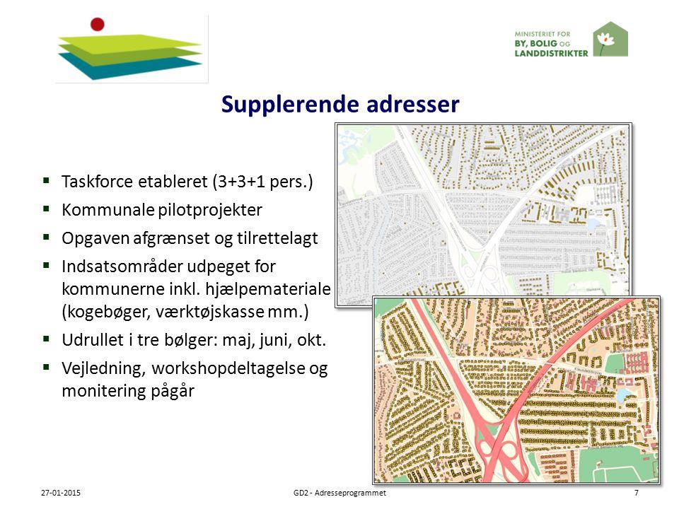 Supplerende adresser 27-01-2015GD2 - Adresseprogrammet7  Taskforce etableret (3+3+1 pers.)  Kommunale pilotprojekter  Opgaven afgrænset og tilrettelagt  Indsatsområder udpeget for kommunerne inkl.