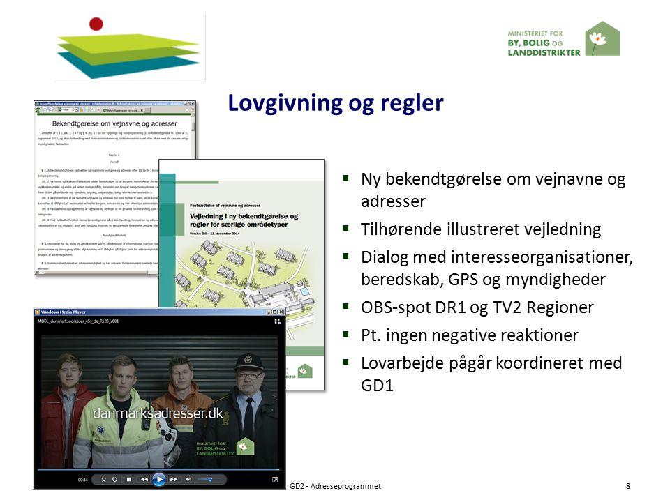 Lovgivning og regler 27-01-2015GD2 - Adresseprogrammet8  Ny bekendtgørelse om vejnavne og adresser  Tilhørende illustreret vejledning  Dialog med interesseorganisationer, beredskab, GPS og myndigheder  OBS-spot DR1 og TV2 Regioner  Pt.