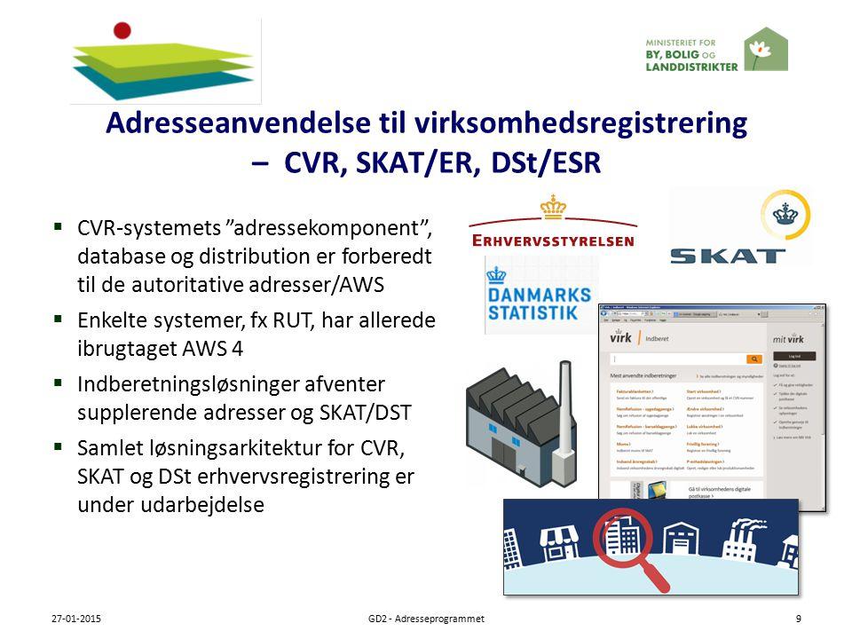 Adresseanvendelse til virksomhedsregistrering – CVR, SKAT/ER, DSt/ESR 27-01-2015GD2 - Adresseprogrammet9  CVR-systemets adressekomponent , database og distribution er forberedt til de autoritative adresser/AWS  Enkelte systemer, fx RUT, har allerede ibrugtaget AWS 4  Indberetningsløsninger afventer supplerende adresser og SKAT/DST  Samlet løsningsarkitektur for CVR, SKAT og DSt erhvervsregistrering er under udarbejdelse