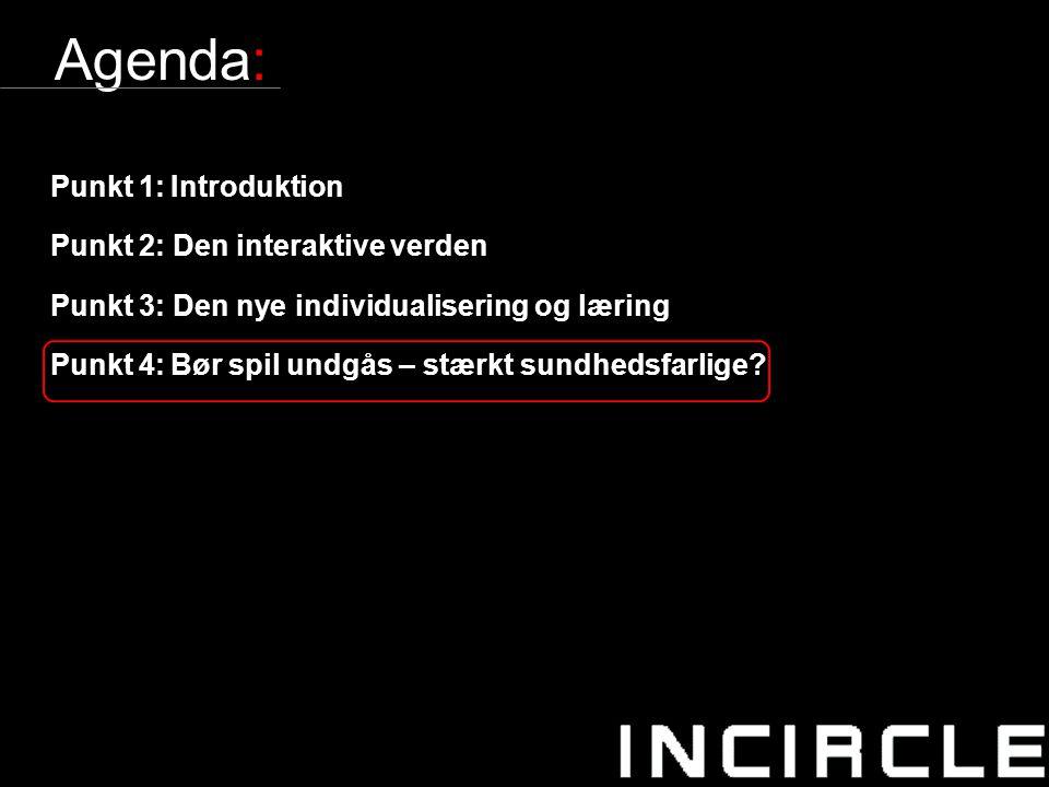 21 Agenda: Punkt 1:Introduktion Punkt 2: Den interaktive verden Punkt 3: Den nye individualisering og læring Punkt 4:Bør spil undgås – stærkt sundhedsfarlige