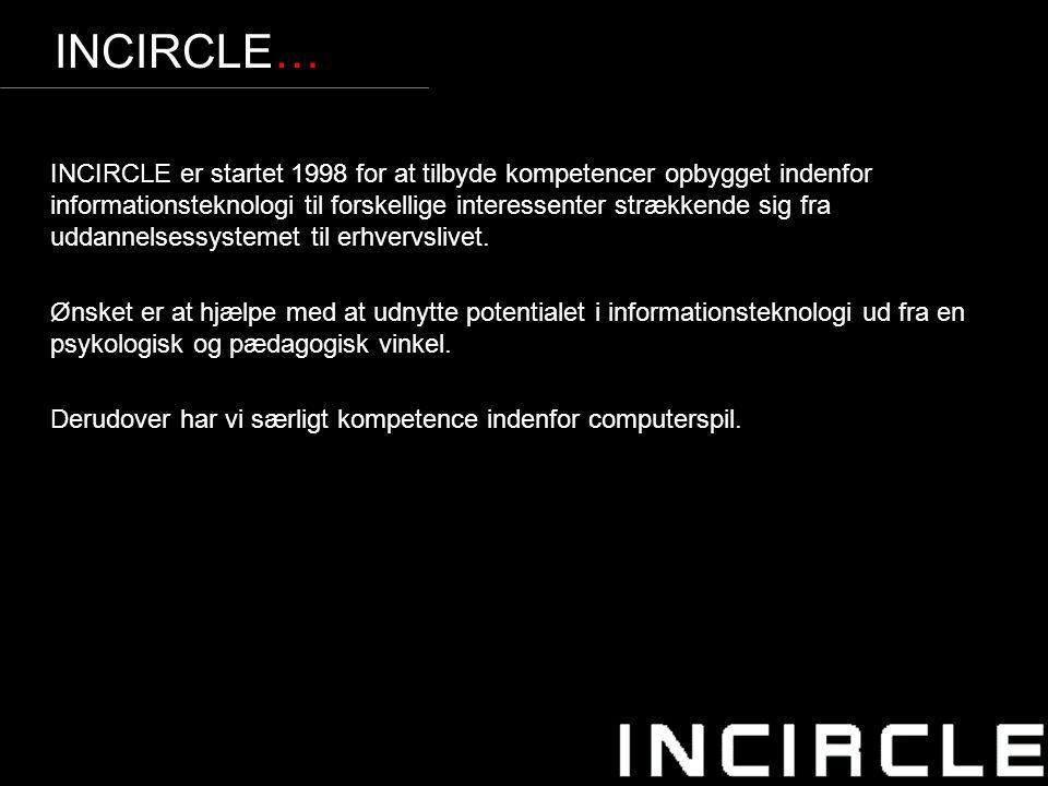 4 INCIRCLE… INCIRCLE er startet 1998 for at tilbyde kompetencer opbygget indenfor informationsteknologi til forskellige interessenter strækkende sig fra uddannelsessystemet til erhvervslivet.