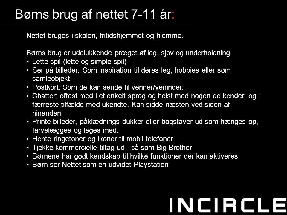 7 Børns brug af nettet 7-11 år: Nettet bruges i skolen, fritidshjemmet og hjemme.