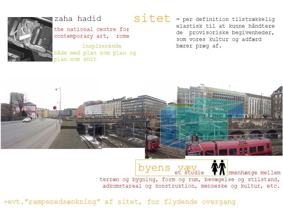 et studie i sammenhænge mellem terræn og bygning, form og rum, bevægelse og stilstand, adkomstareal og konstruktion, menneske og kultur, etc.