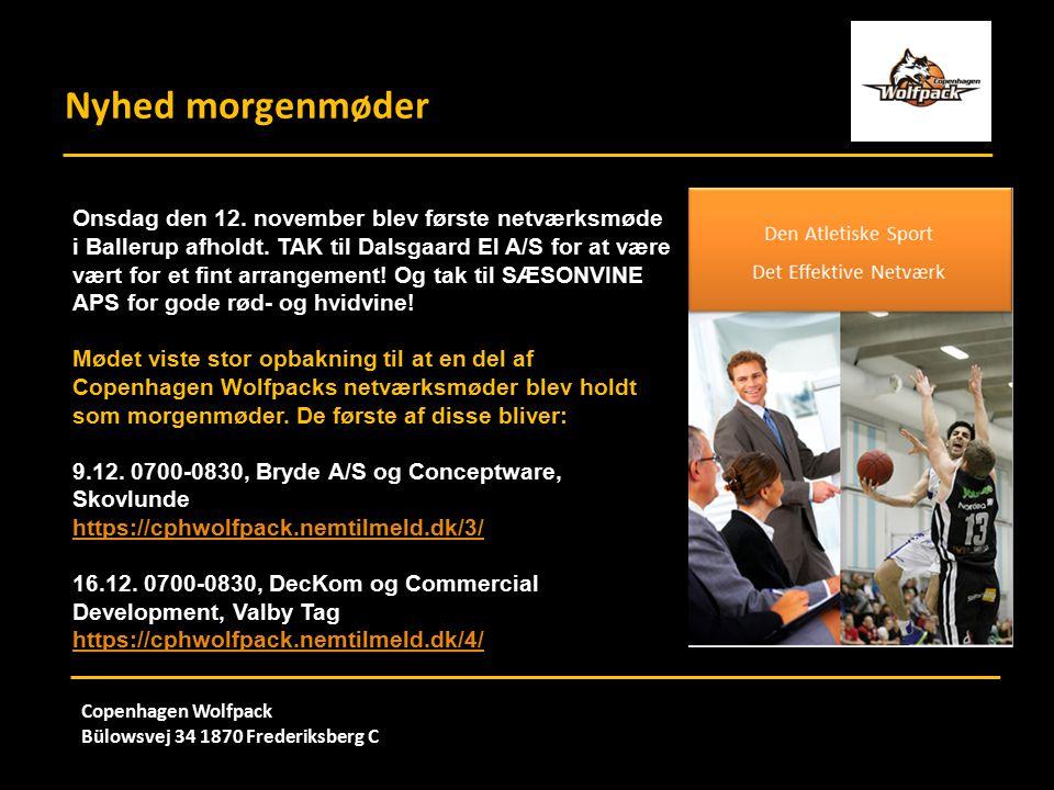 Nyhed morgenmøder Copenhagen Wolfpack Bülowsvej 34 1870 Frederiksberg C Onsdag den 12.