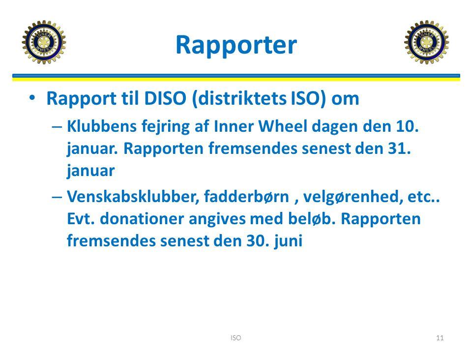 Rapporter Rapport til DISO (distriktets ISO) om – Klubbens fejring af Inner Wheel dagen den 10.
