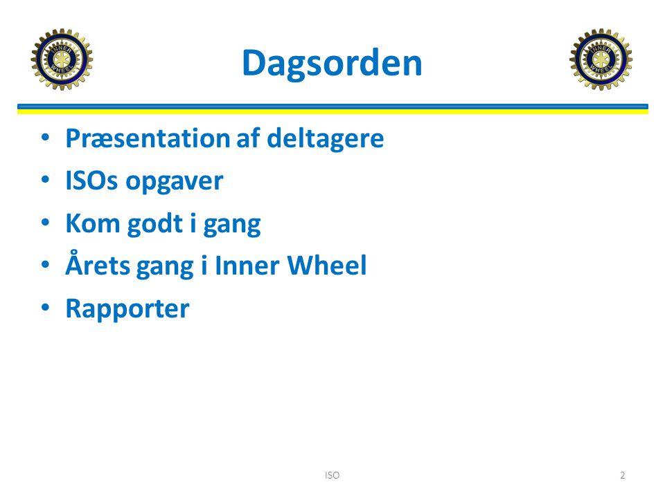 Dagsorden Præsentation af deltagere ISOs opgaver Kom godt i gang Årets gang i Inner Wheel Rapporter ISO2