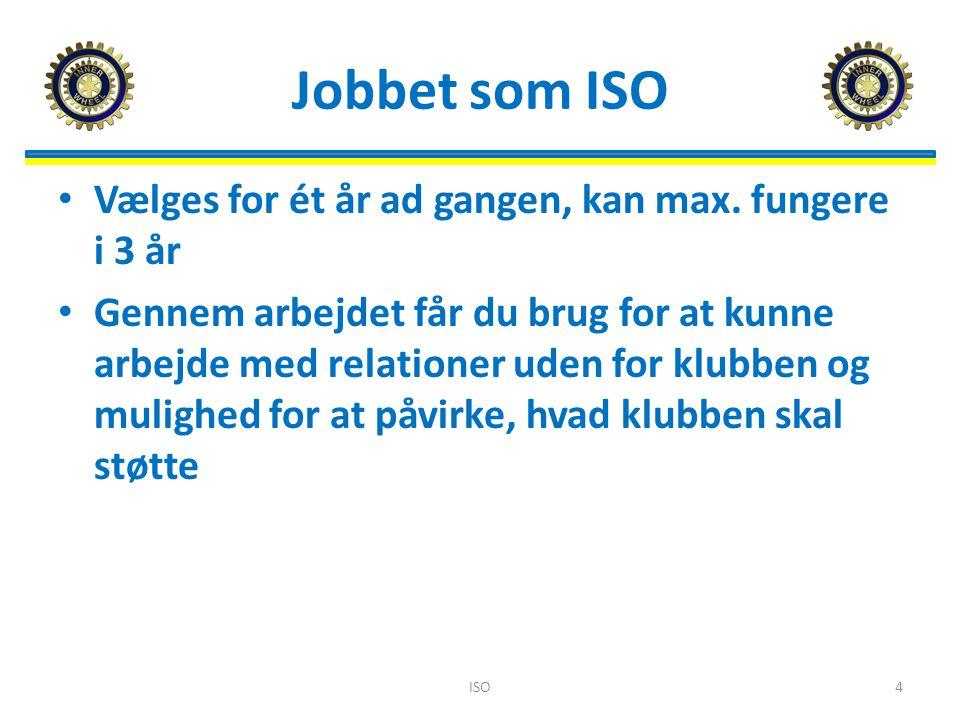 Jobbet som ISO Vælges for ét år ad gangen, kan max.