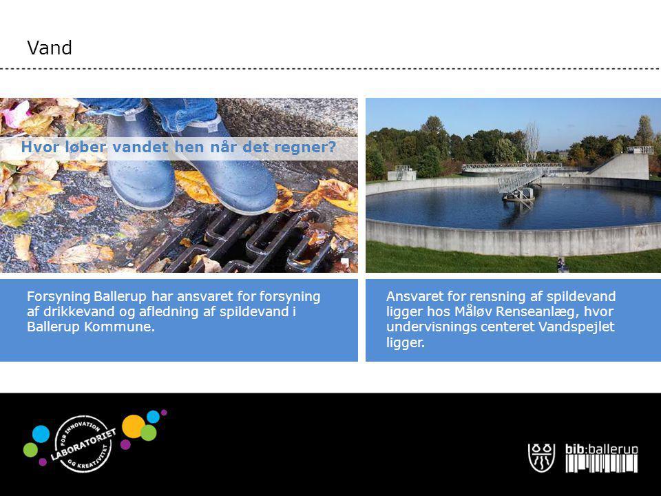 Vand Ansvaret for rensning af spildevand ligger hos Måløv Renseanlæg, hvor undervisnings centeret Vandspejlet ligger.