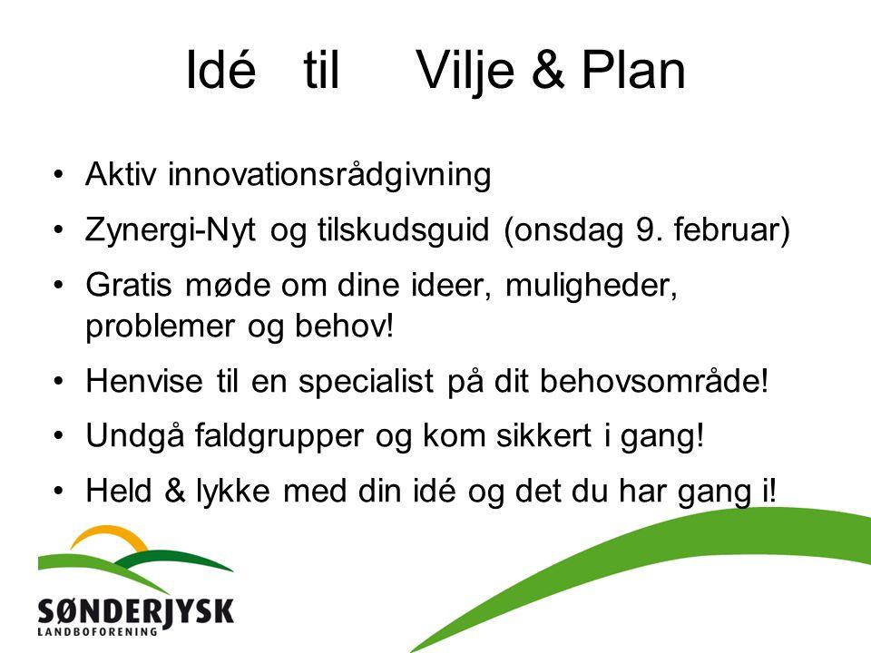 Idé til Vilje & Plan Aktiv innovationsrådgivning Zynergi-Nyt og tilskudsguid (onsdag 9.