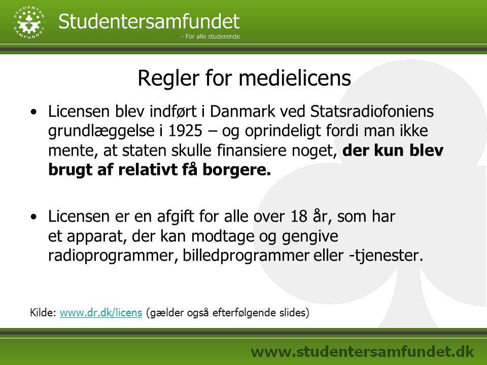 Regler for medielicens Licensen blev indført i Danmark ved Statsradiofoniens grundlæggelse i 1925 – og oprindeligt fordi man ikke mente, at staten skulle finansiere noget, der kun blev brugt af relativt få borgere.