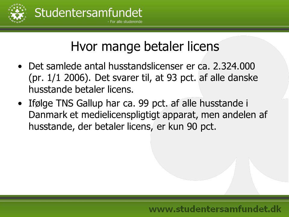 Hvor mange betaler licens Det samlede antal husstandslicenser er ca.