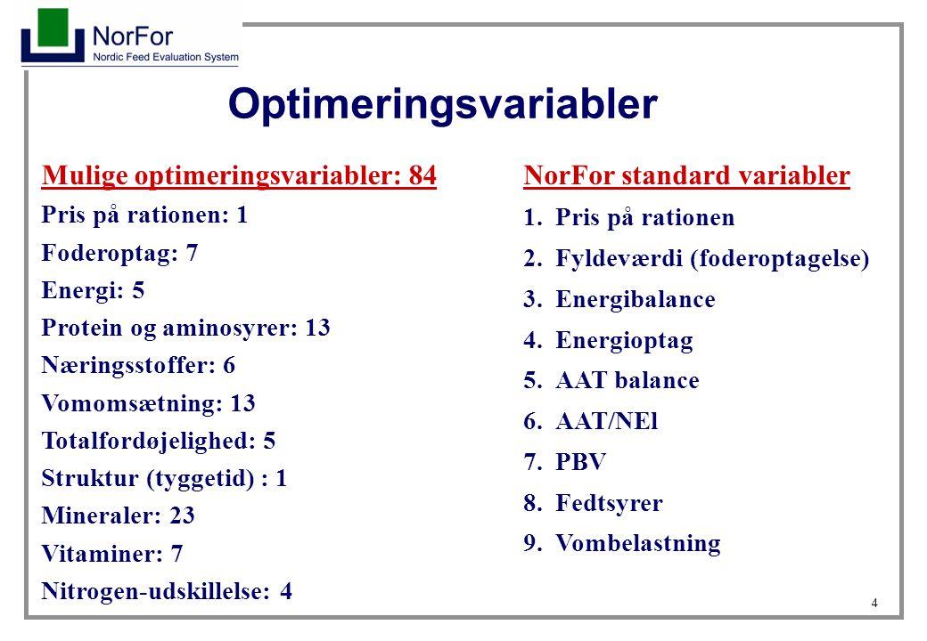4 Optimeringsvariabler Mulige optimeringsvariabler: 84 Pris på rationen: 1 Foderoptag: 7 Energi: 5 Protein og aminosyrer: 13 Næringsstoffer: 6 Vomomsætning: 13 Totalfordøjelighed: 5 Struktur (tyggetid) : 1 Mineraler: 23 Vitaminer: 7 Nitrogen-udskillelse: 4 NorFor standard variabler 1.Pris på rationen 2.Fyldeværdi (foderoptagelse) 3.Energibalance 4.Energioptag 5.AAT balance 6.AAT/NEl 7.PBV 8.Fedtsyrer 9.Vombelastning