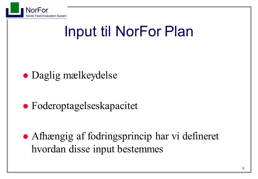 8 Input til NorFor Plan Daglig mælkeydelse Foderoptagelseskapacitet Afhængig af fodringsprincip har vi defineret hvordan disse input bestemmes