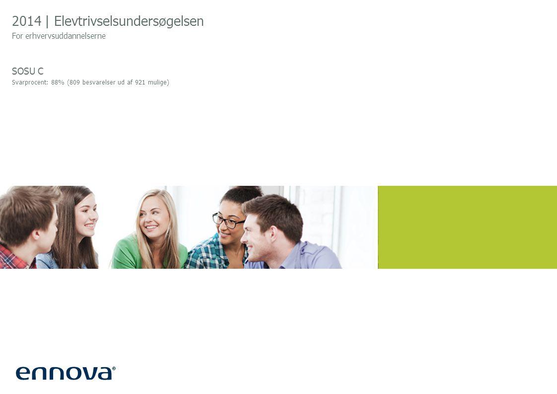 2014 | Elevtrivselsundersøgelsen For erhvervsuddannelserne SOSU C Svarprocent: 88% (809 besvarelser ud af 921 mulige)