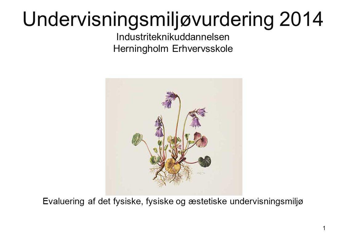 Undervisningsmiljøvurdering 2014 Industriteknikuddannelsen Herningholm Erhvervsskole Evaluering af det fysiske, fysiske og æstetiske undervisningsmiljø 1