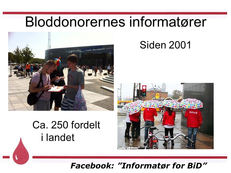 Facebook: Informatør for BiD Bloddonorernes informatører Siden 2001 Ca. 250 fordelt i landet