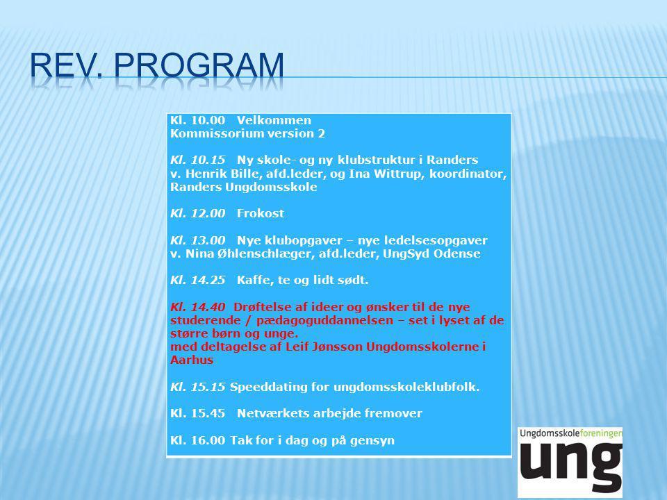 Kl. 10.00 Velkommen Kommissorium version 2 Kl. 10.15 Ny skole- og ny klubstruktur i Randers v.