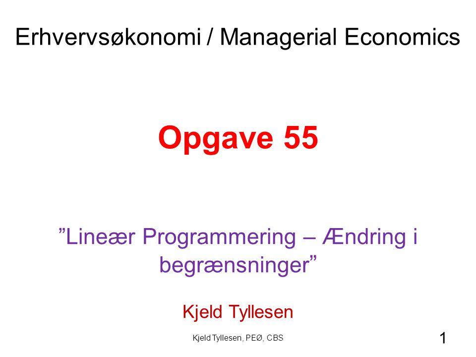 1 Opgave 55 Lineær Programmering – Ændring i begrænsninger Kjeld Tyllesen Erhvervsøkonomi / Managerial Economics Kjeld Tyllesen, PEØ, CBS