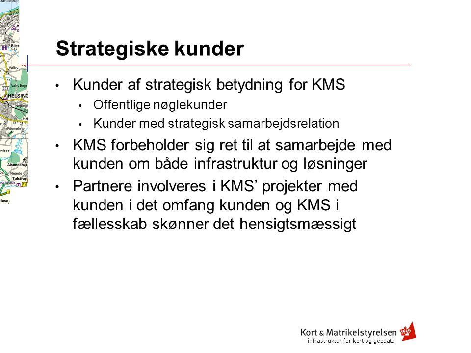 - infrastruktur for kort og geodata Marked Strategisk marked Aftalekunder Strategiske kunder H a n d e l s p a r t n e r e U d v i k l i n g s p a r t n e r e Marked, kunder og partnere