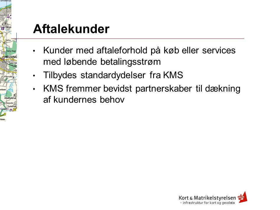 - infrastruktur for kort og geodata Strategiske kunder Kunder af strategisk betydning for KMS Offentlige nøglekunder Kunder med strategisk samarbejdsrelation KMS forbeholder sig ret til at samarbejde med kunden om både infrastruktur og løsninger Partnere involveres i KMS' projekter med kunden i det omfang kunden og KMS i fællesskab skønner det hensigtsmæssigt