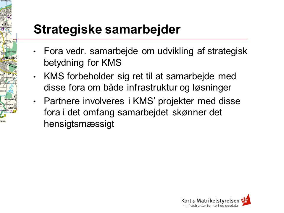 - infrastruktur for kort og geodata Adressering af markedet RelationStrategisk kunde AftalekundeØvrige KMS direkte KMS med udviklingspartner KMS med handelspartner Udviklingspartner direkte Handelspartner