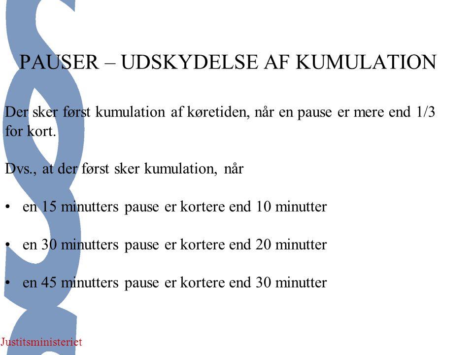 Justitsministeriet PAUSER – UDSKYDELSE AF KUMULATION Der sker først kumulation af køretiden, når en pause er mere end 1/3 for kort.