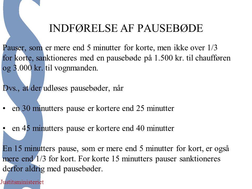 Justitsministeriet INDFØRELSE AF PAUSEBØDE Pauser, som er mere end 5 minutter for korte, men ikke over 1/3 for korte, sanktioneres med en pausebøde på 1.500 kr.